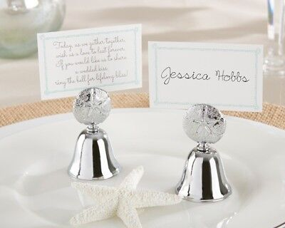 Silver Sand Kissing Bell Summer Beach Place Card Holder Wedding Favor(set of 24)