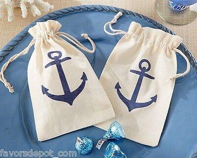 72 Voyages Anchor Muslin Favor Bag Beach Nautical Theme Favor bags