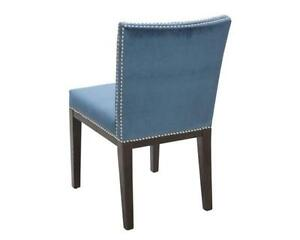 DINING ROOM KITCHEN CHAIR in BLUE FABRIC with NAILHEADS
