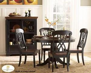 SOLID WOOD 5PC ROUND TABLE AND CHAIR SET IN A SOLID WOOD IN AN ANTIQUE BLACK AND CHERRY FINIS