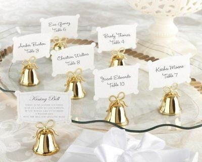 Gold Kissing Bell Wedding Place Card Holders Photo Set of 24 Favor Reception - Gold Wedding Bell Favors