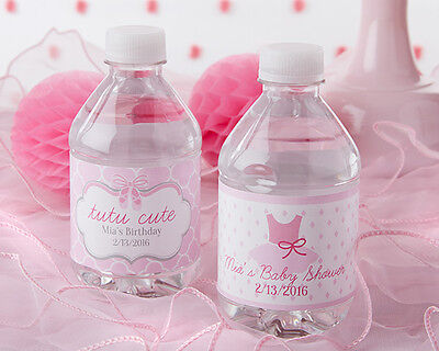 Tutu Cute Baby Shower (24 Personalized Tutu Cute Water Bottle Labels Baby Shower Favors)