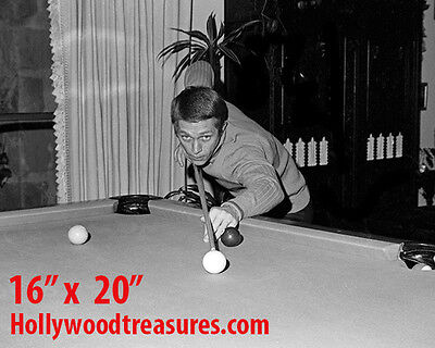 "Steve McQueen ~Shooting Pool~Playing Pool~Billiards~#1~16"" x 20""~Poster~ Photo"