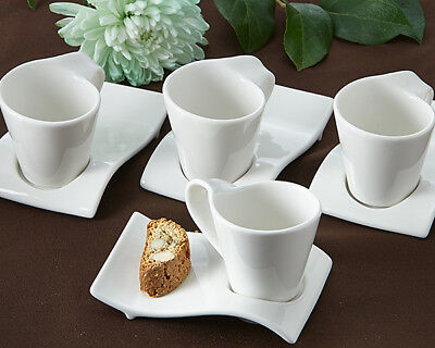 Set of 4 Swish Espresso and Cup Biscotti Set Coffee Tea Plates Saucers Party