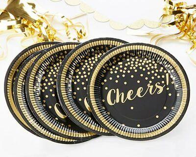 8 Gold Black CHEERS Paper Plates Graduation Engagement Party New Year MW35858 (Engagement Party Plates)