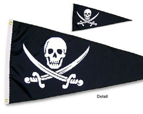 "Historic English Pirate JACK RACKHAM 18"" x 36"" Two Sided Outdoor Pennant Flag"