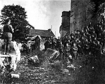 New 8x10 World War I Photo: 101st Field Signal Battalion in Church Ruins, France