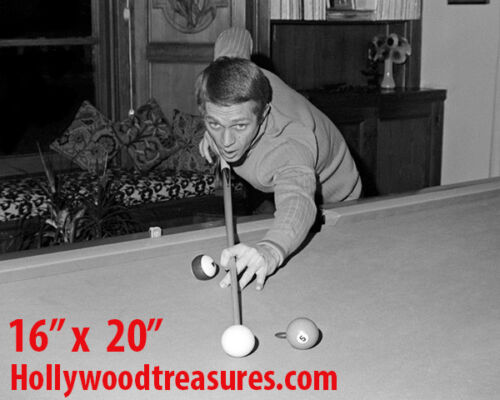 """Steve McQueen ~Shooting Pool~Playing Pool~Billiards~#2~16"""" x 20""""~Poster~ Photo"""
