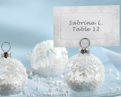108 White Winter Snowflake Glass Ornament Place Card Photo Holder Wedding Favor](Snowflake Ornament Favors)