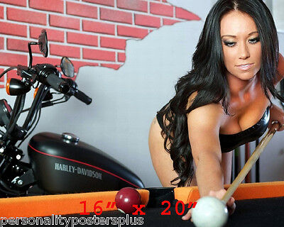 "Harley Davidson~Babe~Shooting Pool~Pool Hall~Billiards~Poster~16"" x 20"" Photo"