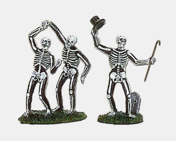 Lemax Spooky Town DANCING SKELETONS 2pc #72377 NRFP Halloween Village top hat *