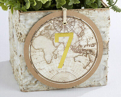 Gold Wedding Table Numbers (Travel Theme Gold Table Numbers Cards Wedding Party Reception 1-18)