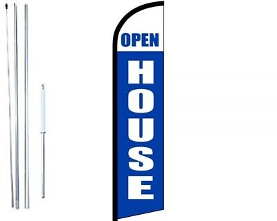 Open House Blue White Windless Swooper Flag With Complete Hybrid Pole Set