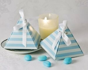 Something Blue Pyramid Wedding Favour Boxes - $6/pkg of 24