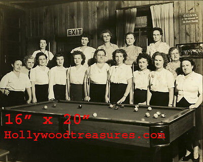 "Woman Playing Pool~Shooting Pool~Pool Hall~Billiards~Poster~16"" x 20"" Photo"