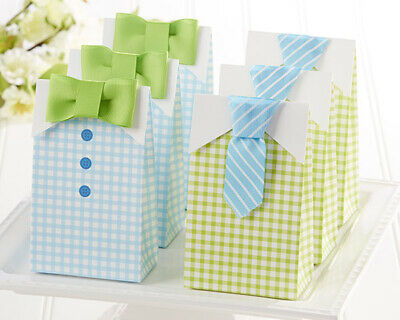 24 Green Blue Bowtie Candy Boxes Boy Baby Shower Party Favors Bags MW34051 - Green Party Box