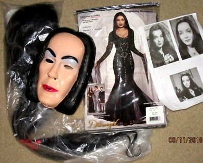 3pc Adult MORTICIA HALLOWEEN COSTUME L XL Sexy Gown WIG Face Mask Addams Family
