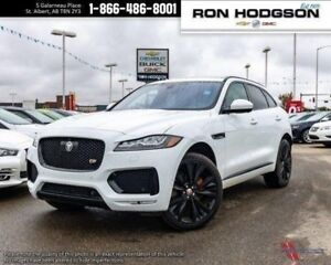 2017 Jaguar F-PACE S WHITE ON BLACK/RED LEATHER LOW KM