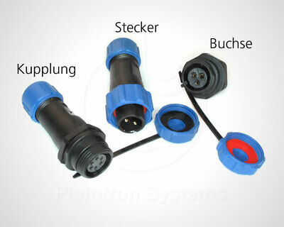 Rundstecker, Buchse, Kupplung 2-6-polig IP68 13mm wasserdicht LED Solar Kfz Boot Runde 13