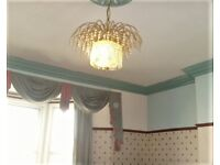 Ceiling Light Fitting Brass/Crystal Chandelier/Antique with Fountain droplets crystals
