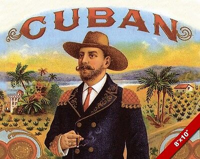 VINTAGE CUBAN CIGAR ADVERTISEMENT OLD AD POSTER ART REAL CANVAS PRINT