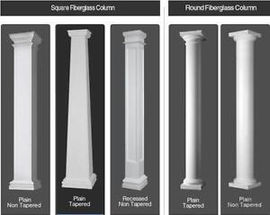 FIBERGLASS TAPERED AND NON TAPERED COLUMNS SALE