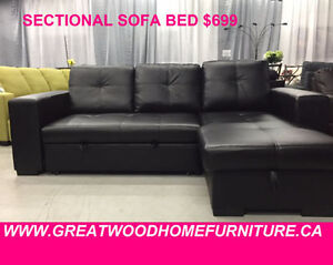 SECTIONAL SOFA WITH STORAGE & PULL OUT BED..$699