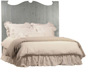 Amelie Reclaimed Wood Headboard Antique Grey QN NEW $1875