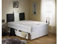 *7-DAYS MONEY BACK GUARANTEE* 4FT6 DOUBLE/4FT SMALL DIVAN BED BASE WITH RANGE OF ORTHOPADIC MATTRESS