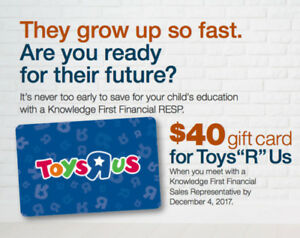 FREE $40 TOYS R US Gift Card