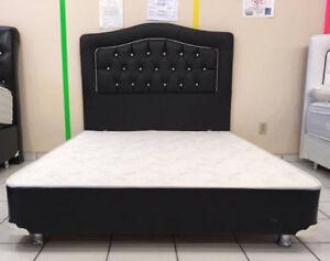 SET DE LIT DOUBLE CUIR / BED SET DOUBLE LEATHER WITH CHROME LEGS