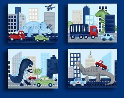 Dinosaur Attack! Boys Nursery and Bedroom Wall Art Prints with Dinosaurs