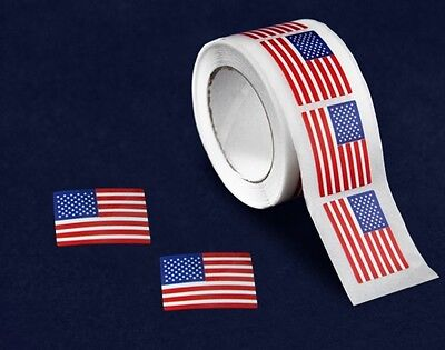 Lot of 250 Small American Flag Stickers