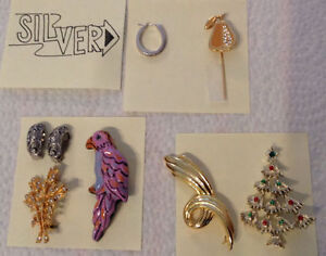 Brooches & Earrings (Silver ) & Pin .. see pictures
