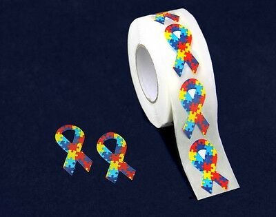 Lot of 500 Small Autism Awareness Ribbon Stickers
