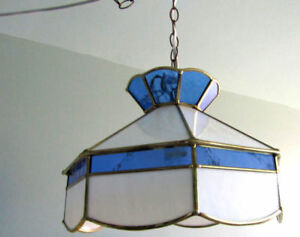 Blue Tiffany-Style Swag/Hanging Lampshade & Cord