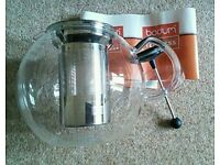 Bodum 1.5L Glass Assam Teapot with stainless steel filter excellent condition boxed