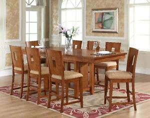 PUB HEIGHT HUGE SOLID WOOD DINNING TABLE WITH LEAF FOR 1099$ ONLY