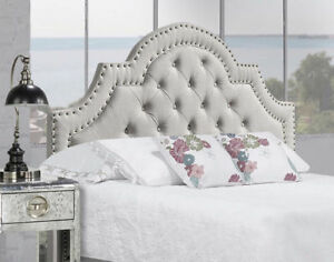 UPHOLSTERED STUDDED CAMEL FABRIC HEADBOARD - ON SALE