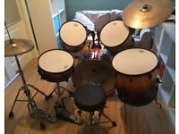 Pearl Export ELX 5 piece Drum Kit in Amber Fade including Hardware and Zildjian Cymbals