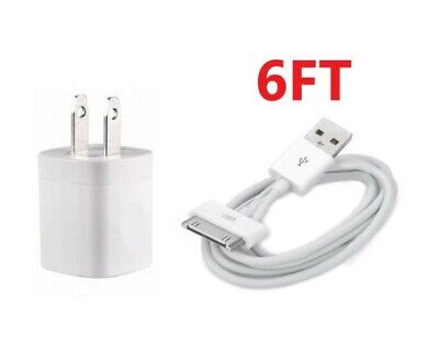 Home Wall AC Charger +6FT 30 pin Data Charging Cable for iPhone 3G 4 ipod Nano