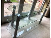 """Glass TV stand 3 shelves """"chrome"""" pillars"""