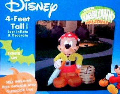 Disney Mickey Mouse 4 foot Pirate Lighted Airblown Inflatable Halloween New 2005 - Mickey Mouse Inflatable Halloween