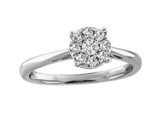 Women's 0.24 ctw 14k White Gold Solitaire Diamond Ring - Size 4
