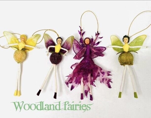 FAIRY ORNAMENT Set Of 4 Woodland Glitter Bendable Limbs ~ Whimsical!