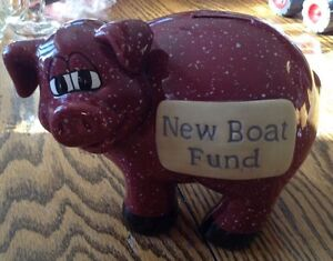 VINTAGE J & D DESIGNS PIGGY BANK. NEW BOAT FUND. SAVINGS. COIN Gatineau Ottawa / Gatineau Area image 7