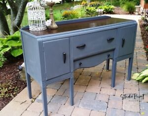 Painted and Refinished Vintage Waterfall Buffet Sideboard