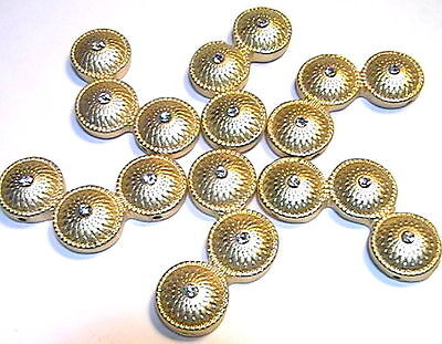 6 - 2 Hole Slider Beads 1.25 Frosted Mat Gold Plated Small Clear Crystals
