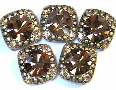 - 5 - 2 HOLE SLIDER BEAD 8mm SMOKE TOPAZ & 2mm COLORADO TOPAZ AUSTRIAN CRYSTAL