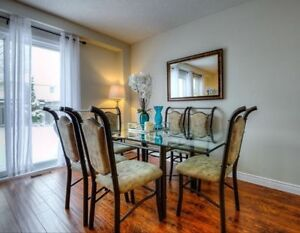 Unique & gorgeous- Glass & metal dining table & 6 chairs set